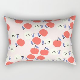 Red Apple Pattern on Pink Background Rectangular Pillow