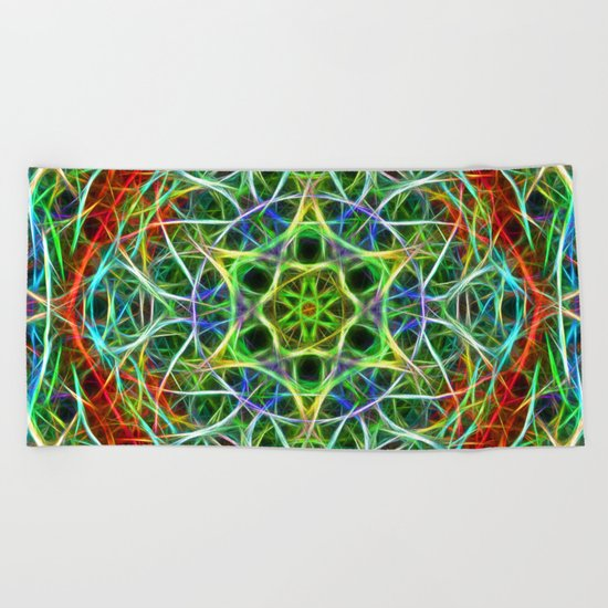 Feathered texture mandala in green and brown Beach Towel