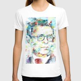 JEAN-PAUL SARTRE - watercolor portrait T-shirt