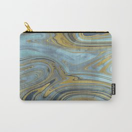 Liquid Teal and Gold Carry-All Pouch