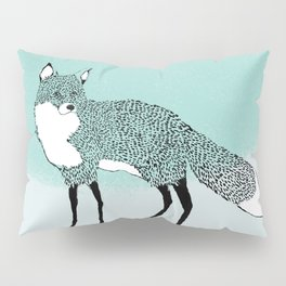 Fox in the snow – Animal Illustration – Kitsune in snow scene – vintage colors – antiqued colors Pillow Sham