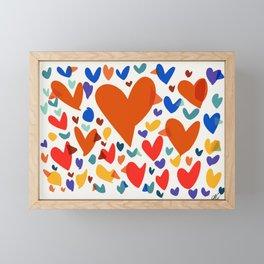 Illustration Minimal painting pattern Birds and Hearts Framed Mini Art Print