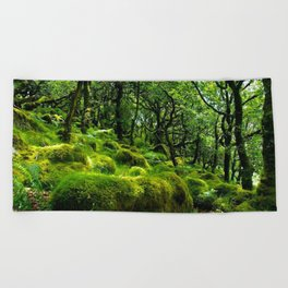 MOSSY ROCK ENGLISH FOREST Beach Towel