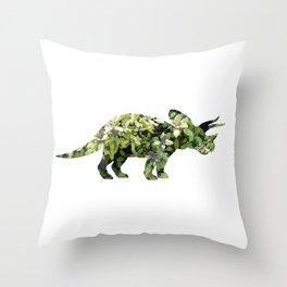 Triceratops Salvia Throw Pillow
