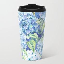 Botanical pink blue watercolor hortensia floral Travel Mug