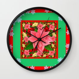 DECORATIVE SNOWFLAKES RED & PINK POINSETTIAS CHRISTMAS ART Wall Clock