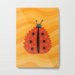 Orange Ladybug Autumn Leaf Metal Print