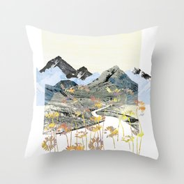Daisy Mountain - Art Collage Throw Pillow