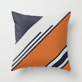 Retro Stripes in Blue Orange Throw Pillow
