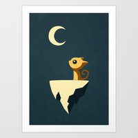 yellow Art Prints featuring Moon Cat by Freeminds