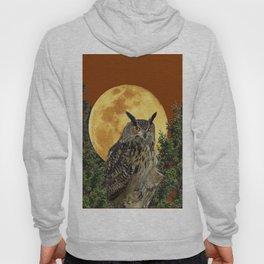 BROWN WILDERNESS OWL WITH FULL MOON & TREES Hoody