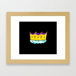 A Royal Gold Crown with Black Background Framed Art Print