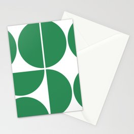 Mid Century Modern Green Square Stationery Cards