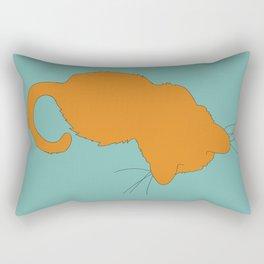 Ginger Kitty Cat Illustrated Print Orange Sea Green Rectangular Pillow