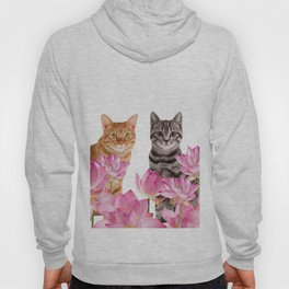 Red and Tiger cat in Lotos Flower Field Hoody