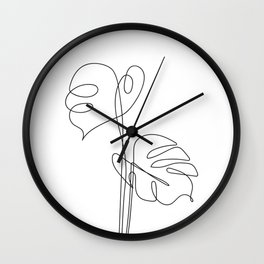 One Line Monstera Leaves Wall Clock