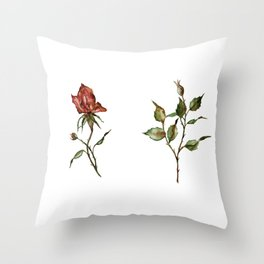 Loose Watercolor Rosebuds Throw Pillow