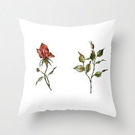 Loose Watercolor Rosebuds Throw Pillow