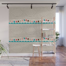 Vintage elegant ivory floral lace colorful flags pattern Wall Mural