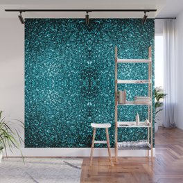 Beautiful Aqua blue glitter sparkles Wall Mural