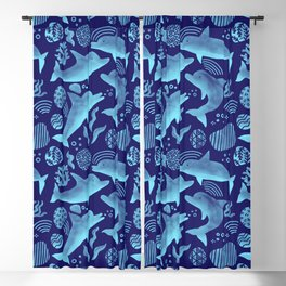 Dolphins - Bright Cobalt Blue + Turquoise Blackout Curtain