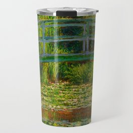 Claude Monet Impressionist Landscape Oil Painting-The Japanese Footbridge and the Water Lily Pool Travel Mug