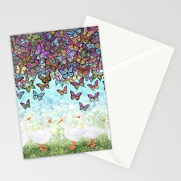 butterfly cascade and white geese Stationery Cards