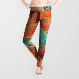 Pink Peonies Pattern with Gold Waves Leggings