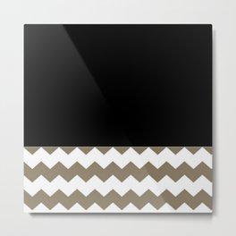 Chevron Khaki Black And White Metal Print