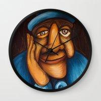 faces Wall Clocks featuring Faces by Elisa Gandolfo