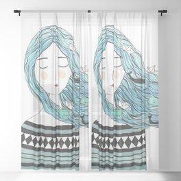 Whales in my hair Sheer Curtain
