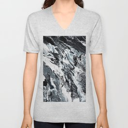 Marble in Black and White Unisex V-Neck