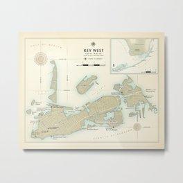 """Key West """"vintage inspired"""" road map Metal Print"""
