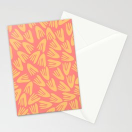 Papier Découpé Abstract Cutout Pattern in Pink and Mustard Yellow Stationery Cards