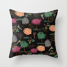 Nature's Essences Collection-Black Background Throw Pillow