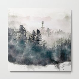Forest and fog in watercolor Metal Print