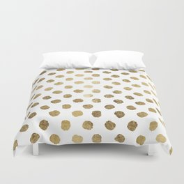 Luxurious faux gold leaf polka dots brushstrokes Duvet Cover