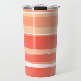 Striped Abstract, Living Coral Californian Sunset Travel Mug