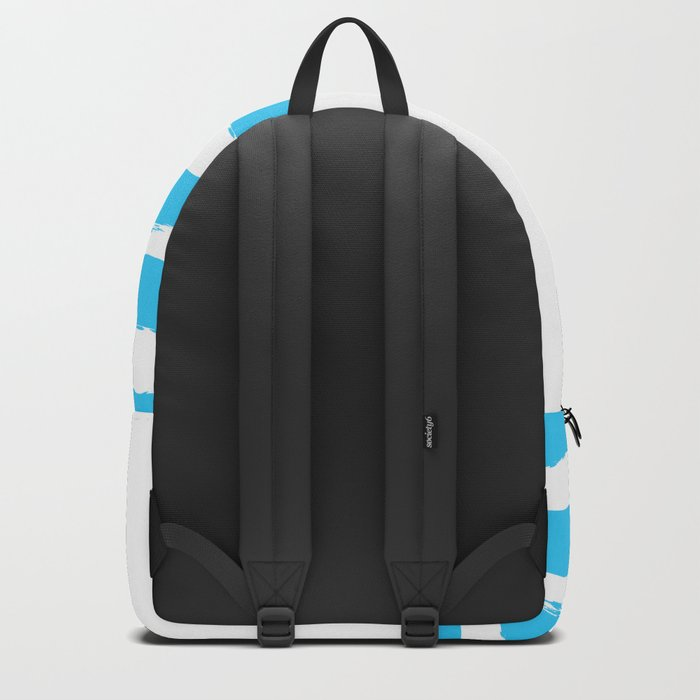 Simply hand-painted teal stripes on white background -Mix & Match Backpack