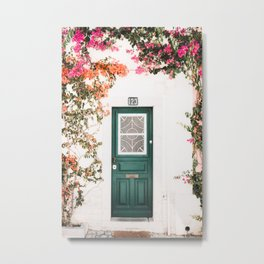Front Door with Flowers in Cascais, Portugal | Travel Photography | Metal Print
