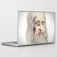da vinci Laptop & iPad Skins featuring Leonardo da Vinci Colorful by André Minored