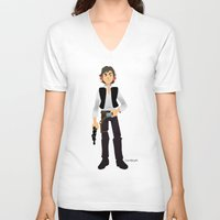 han solo V-neck T-shirts featuring Han Solo by Roe Mesquita