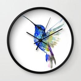 Hummingbird, Turquoise BLue Flying Bird decor Wall Clock