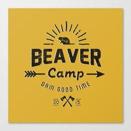 Beaver Camp: Dam Good Time (Black Text) Canvas Print