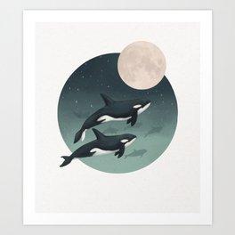 moonlight caravan // orcas Art Print