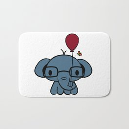 cute elephant with glasses holding a balloon Bath Mat