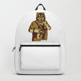 Sophisticated Wolf - having a drink Backpack