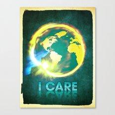 I Care / Blue Canvas Print