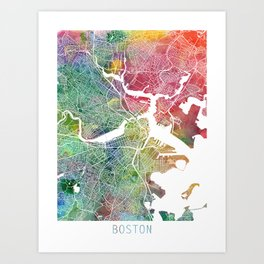 Boston Watercolor Map Art by Zouzounio Art Art Print