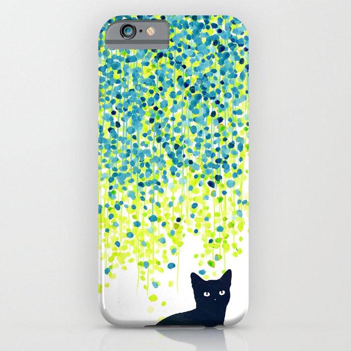 Cat in the garden under willow tree iPhone Case